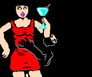 woman in sexy red dress gets ninja tummy rub