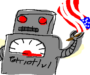 American-flag-wielding-robot. Patriot level:MAX
