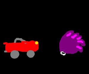 Purple sonic runs into a yellow car