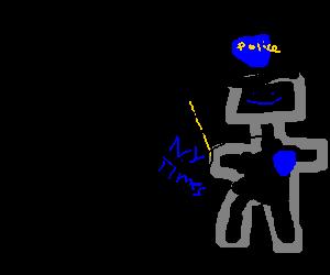 Robocop reads the paper
