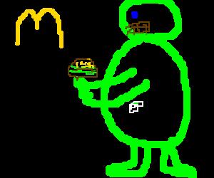 The hulk working at McDonald's
