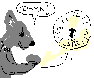 angry wolf in a hurry