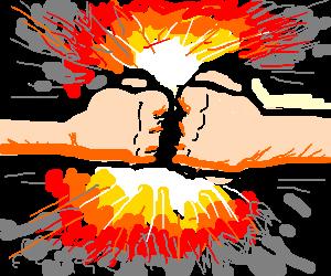 Exploding fist bump