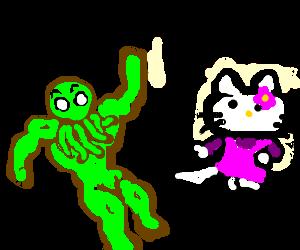 Cthulu gets beatdown by hello kitty.