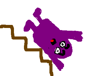 Grimace falls down the stairs