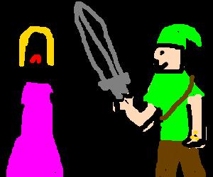 Zelda is weak & useless. She doesn't use a sword