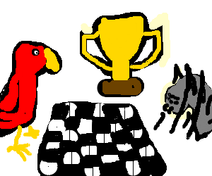 Spider and Bird Play Chess For A Golden Trophy
