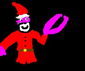 Santa Claud with a homard hand