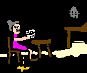 Old, senile granny pees herself at Bingo Night.