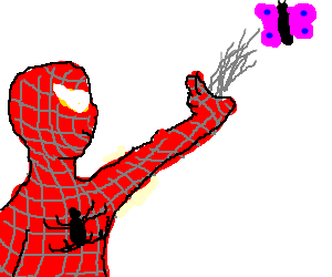 Spiderman attempts to catch a butterfly.