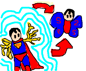 Spaghetti armed superman evolves into butterfly