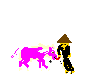 Pink horse licks sad chinese man