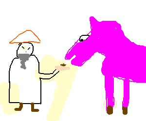 chinese oldman feeding a pink horse
