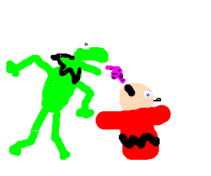 Kermit The Frog Feeds Charlie Brown like a bird