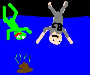 Kermit & CB dive for delicious sunken turds