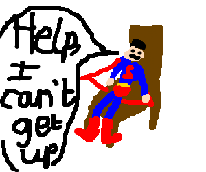 Superman is stuck to his chair!