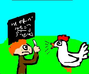 Chicken speaks to man with chalk