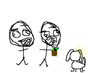 Two derpy stickmen give plant to faceless dog.