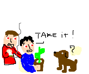 Two stoners offer a dog a pot plant