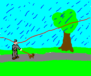 Man with lasereyes walking his dog in the rain