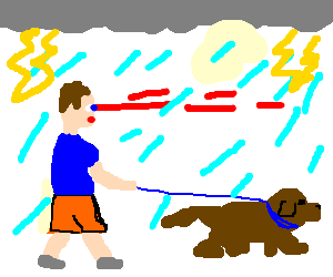 Man walking dog in rain shoots laser from eyes