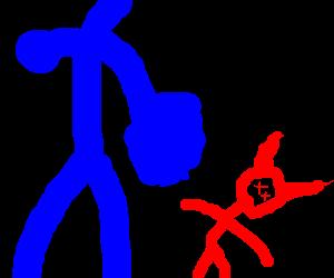 Strong blue stickman defeats red stickman devil