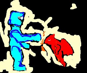 Giant Rockem Sockem Robot punches red imp
