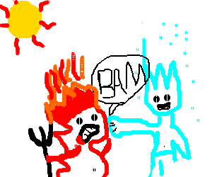 Red demon crashes agains ice-man's punch