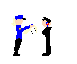 Frozen cop slapping sad man