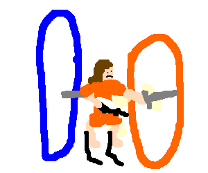 Chell from portal stabs her own back
