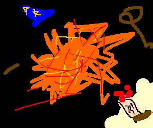 Wizard explodes