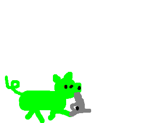 Green pig that wants to die