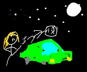 Girl kicks corpse over green car at night