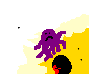 a Klan member sacrifices an octopus to the sun.