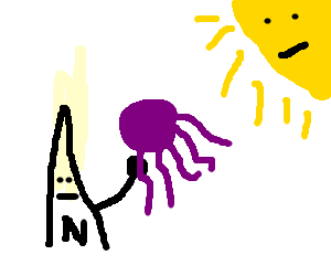 A cardinal carries a purple octopus to the sun