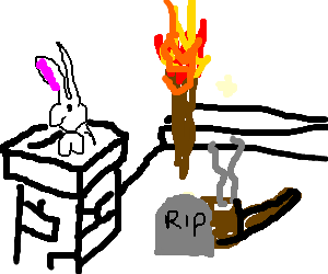 Rabbit in chimney next to torch with dead pipe