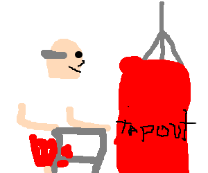 Old man training for boxing match