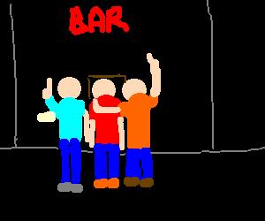 Three men at a bar