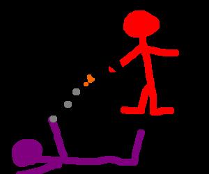 super saiyin red stickman kills purple stickman