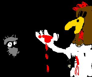 Crazy man stabs Foghorn Leghorn