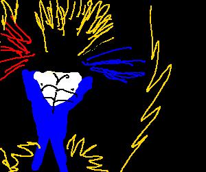 Goku in blue imitates police siren