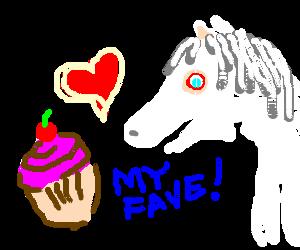 Albino Horse loves cherry cupcakes