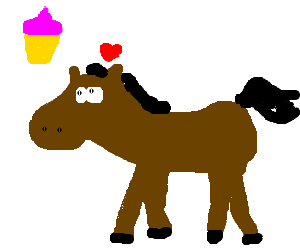 A horse that likes cupcakes