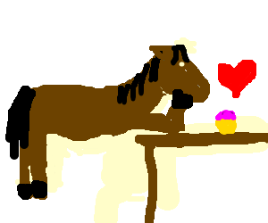 Horse falls hopelessly in love with pink cupcake
