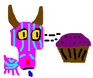 Cheshire goat look at the purple muffin