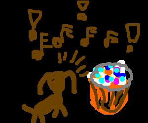 Mutant myriapod-dog barks at cupcake