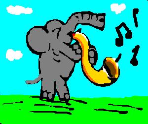 Elephant playing the saxophone