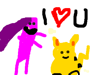Purple puppetmaster loves hysterical Pikachu
