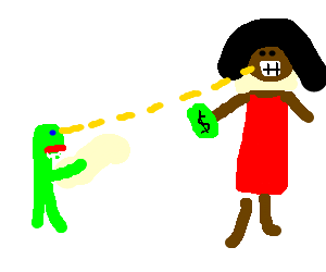 Angry Green Man shoots eye laser at Lotto Winner