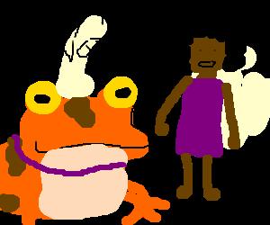a frog hypnotize a afro women